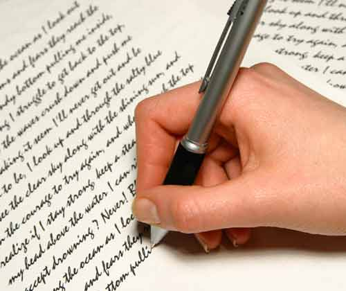 picture of a hand writing
