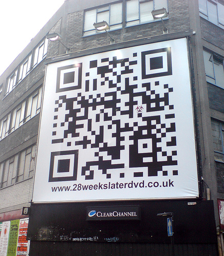 QR code on building