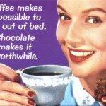 Woman drinking coffee retro