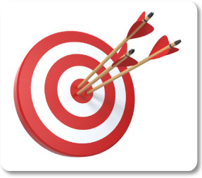 Retargeting target board with arrows