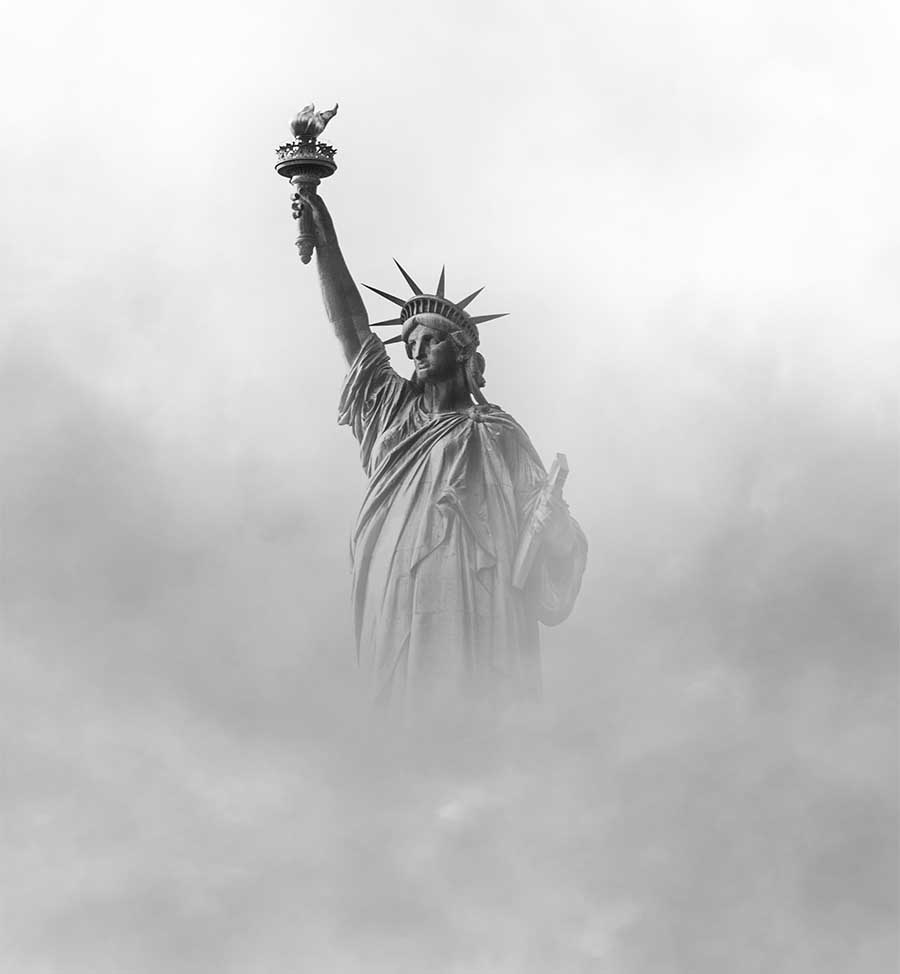 statute of liberty in dense fog