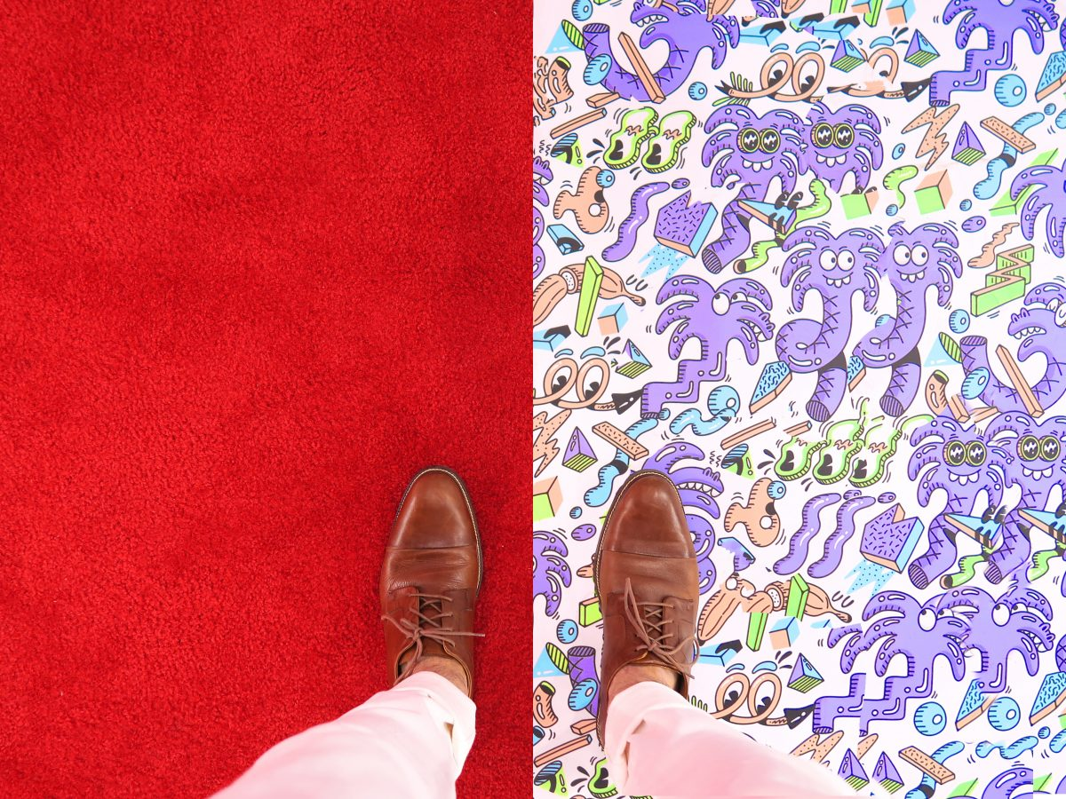 marketing metaphor shoes on vibrant carpet